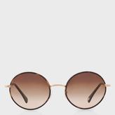 Paul Smith Oak And Brushed Gold 'Danbury' Sunglasses