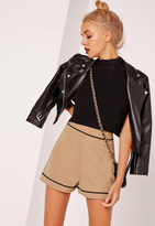 Missguided High Waisted Pocket Back Shorts Nude