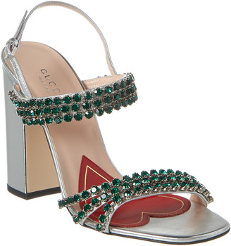 Gucci Bertie Crystal Strappy Leather Sandal