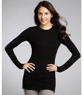 black cashmere raw edge long sleeve sweater