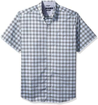 Nautica Men's Tall Wrinkle Resistant Short Sleeve Plaid Button Down Shirt