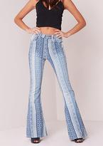 Missy Empire Meeka Aztec Print Mid Rise Flared Jeans