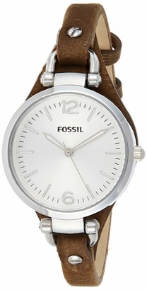 Fossil Georgia Brown Leather Watch / Analogue Women's Wrist Watch with Thin Vintage Leather Band and Waterproof Silver Case in Gift Box - Boyfriend Design with Silver Dial