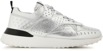 Tod's Perforated Metallic Textured-leather Sneakers