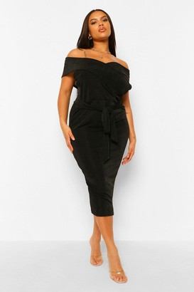 boohoo Plus Textured Slinky Off The Shoulder Midi Dress