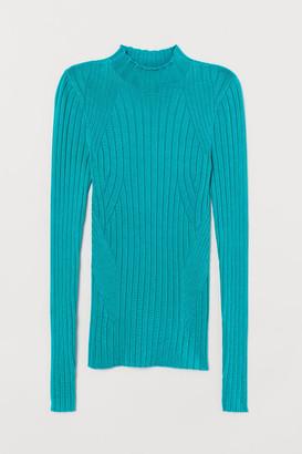 H&M Mock-turtleneck Sweater - Turquoise