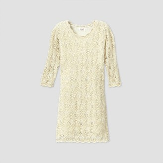 Cat & Jack Girls' 3/4 Sleeve Shine Crochet Sweater Dress - Cat & JackTM