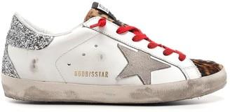 Golden Goose Superstar Leather Upper Suede Star Leopard Horsy Toe