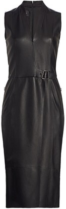 Akris Wrap Effect Leather Dress