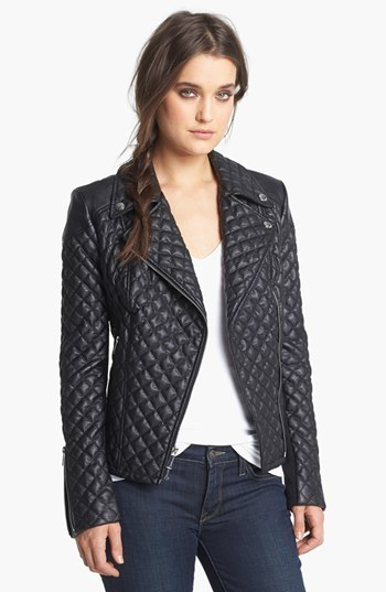 BCBGeneration Quilted Faux Leather Moto Jacket