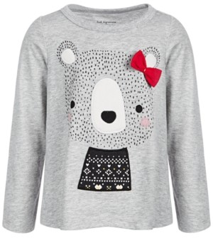 First Impressions Baby Girls Holiday Bear Long-Sleeve T-Shirt, Created for Macy's