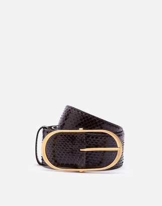 Dolce & Gabbana Python Skin Belt With Oval Buckle