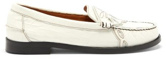 Ganni Topstitched Croc-effect Leather Loafers - White