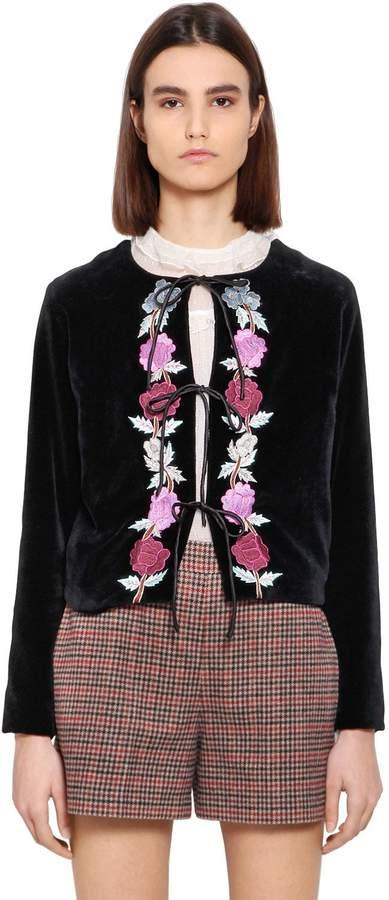 Blugirl Floral Embroidered Velvet Jacket