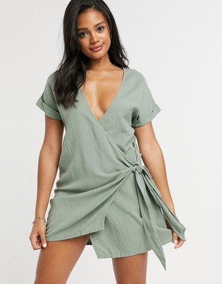 rhythm Sofia wrap front dress in sage