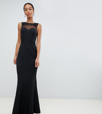 Little Mistress Tall embellished neck pleated maxi dress in black