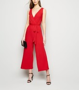 New Look Tall Ribbed Sleeveless Culotte Jumpsuit