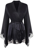 Agent Provocateur Gloria Black Silk Satin Kimono Robe