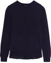 Clu Pleated Satin Twill-paneled Cotton Sweater - Indigo