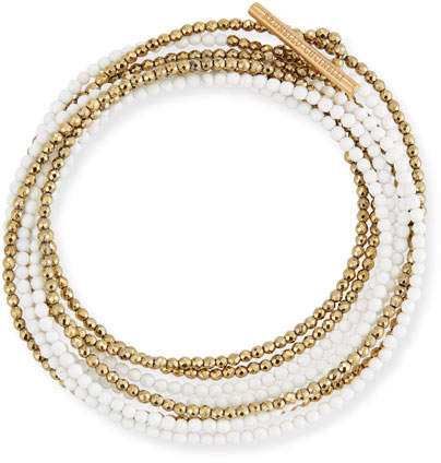 Brunello Cucinelli Hematite & Quartz Beaded Coil Bracelet, Golden