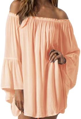 ZANZEA Women's Summer Casual Chiffon Long Sleeve Off Top Dress Z-black UK 10-12/US M