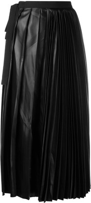 Sara Lanzi Faux-Leather Pleated Skirt