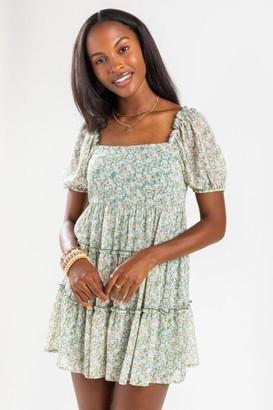 francesca's Blakely Tiered Babydoll Mini Dress - Sage
