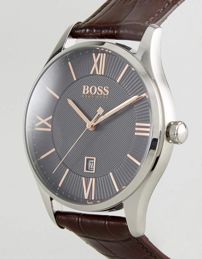 HUGO BOSS Boss By 1513484 Governor Leather Watch In Brown