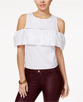 Amy Byer Juniors' Cold-Shoulder Ruffled Blouse