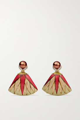 Silvia Furmanovich Marquetry 18-karat Gold, Wood, Pearl And Diamond Earrings