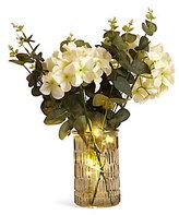 Marks and Spencer Lit Hydrangea & Eucalyptus in Green Vase