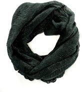 Cejon Women's Infinity Scarf Pleated Crinkle With Silver Metallic Charcoal