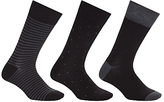 John Lewis Bamboo And Cotton Pattern Socks, Pack Of 3, Black/grey