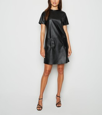 New Look Innocence Leather-Look T-Shirt Dress