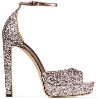 Jimmy Choo Pattie 130 Glitter-Embellished Sandals