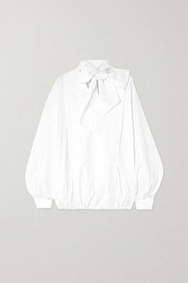 Valentino Tie-detailed Gathered Cotton-blend Poplin Blouse - White