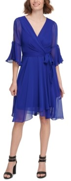 DKNY Split Bell-Sleeve Wrap-Look Dress