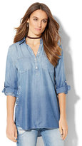 New York & Co. Soho Soft Shirt - Ultra-Soft Chambray Tunic - Medium Blue