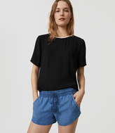 LOFT Chambray Drawstring Shorts in Mid Indigo Wash