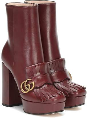 Gucci Marmont leather platform ankle boots