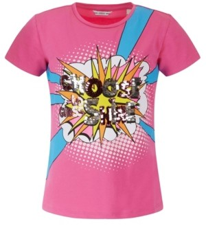 GUESS Big Girls Organic Stretch Cotton Flip Sequin Short Sleeve T-shirt