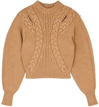 Alexander McQueen Camel Cable-knit Wool-blend Jumper