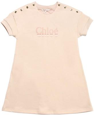 Chloé Logo Print Cotton Blend Sweater Dress