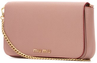 Miu Miu Logo Fold-Over Shoulder Bag