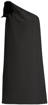 Aidan Mattox One-Shoulder Trapeze Dress