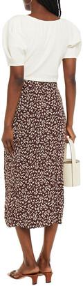 Ganni Knotted Printed Crepe Midi Skirt