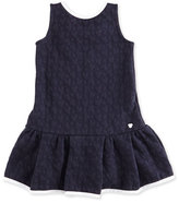 Armani Junior Sleeveless Heart-Jacquard Stretch Dress, Indigo, Size 2-8