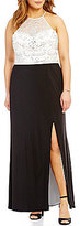 B. Darlin Plus High Neck Sleeveless Beaded Color Block Long Dress