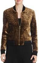 Elie Tahari Brandy Embroidered Velvet Bomber Jacket