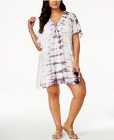 Raviya Plus Size Tie-Dyed Lace-Up Cover-Up Tunic